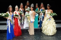 2013 Queen and Court (from L-R):   Emily Scarpitti, Jill Grove, Heather Ramsey, Briana McAfee, Queen Claire Kendig, Marisa Karapasha, Amy Rogers, and Asia Boykin
